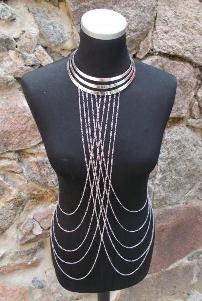 Sexy Körperkette mit elegantem Halsreif - in gold oder silber