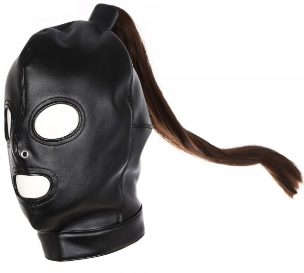 Fetisch Maske mit Pferdeschwanz - Mund- & Augenöffnung