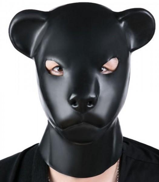 """Schwarze Latex """"Bären"""" Kopfmaske mit Reißverschluss"""