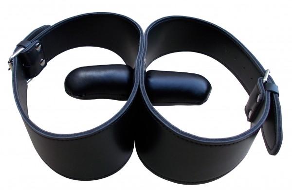 Bondage Leder Doppelknebel - BDSM Knebel Bondage Mundknebel