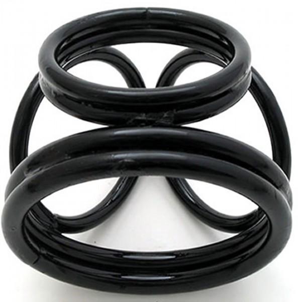 Metall Hodenteiler mit Cockring ❘ schwarz oder silber