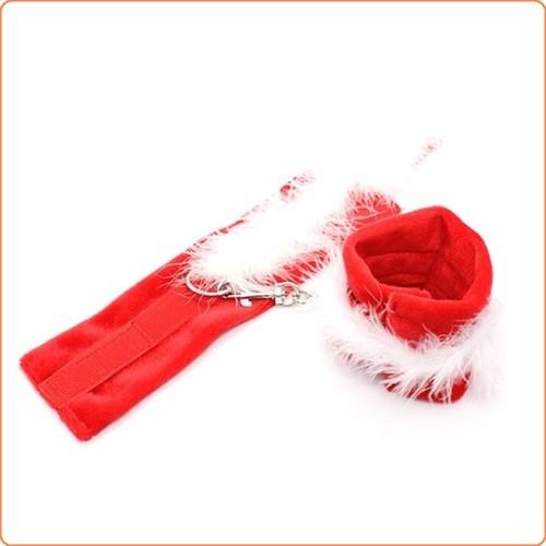 Sehr weiche rote Stoffhandfesseln mit Klettverschluss