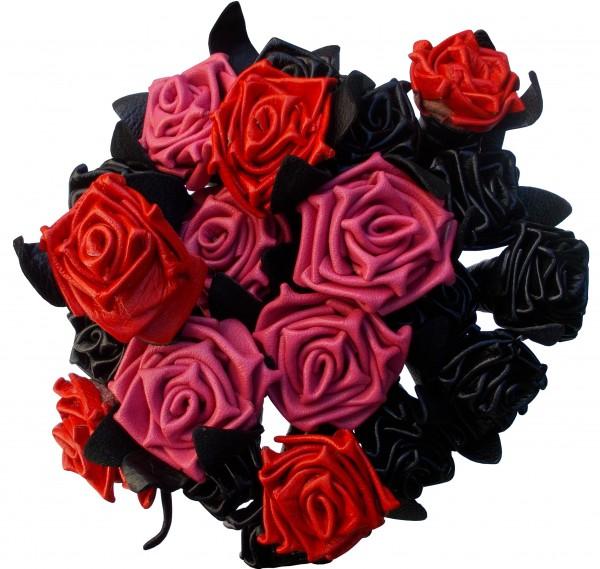 Lederrosen die niemals verblühen in schwarz, rot & pink