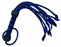 Geflochtene Cat-O-nine Lederpeitsche - schwarz/blaue Wildlederpeitsche
