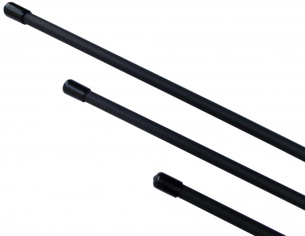 Rohrstock mit schwarzem Gummiüberzug in verschiedenen Längen