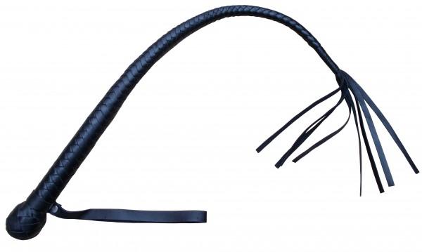 Schwarze Riemenpeitsche mit Floggertails ❘ SM Lederpeitsche