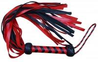Rot-schwarzer langer Lederflogger - Spanking Toy - Sklavenpeitsche