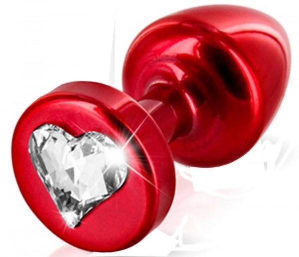 Roter Aluminium Analplug ❘ mit Kristallstein in Herzform