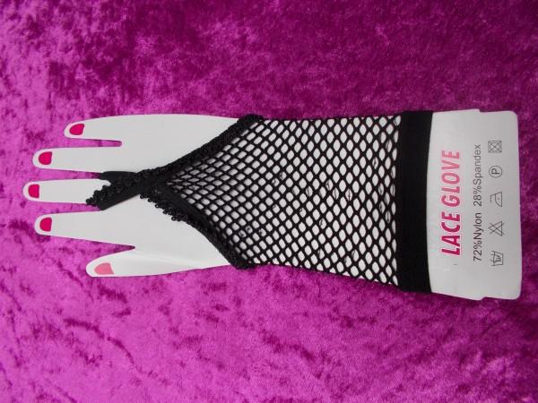 Fingerloser Netzhandschuh - zeitlos elegant in schwarz - Handschuhe aus Fischnet