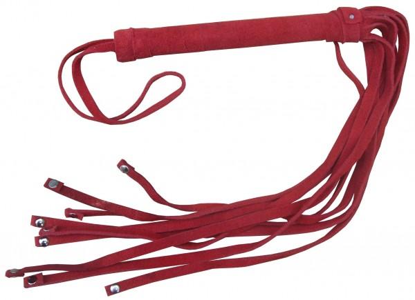 Roter Lederflogger mit Metallnieten ❘ Spanking SM Peitsche