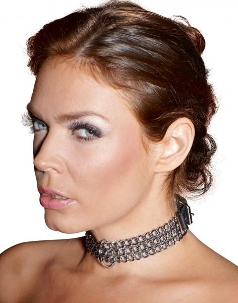 Fetisch Halsband aus Ketten mit D-Ring ❘ Halsfessel Shop
