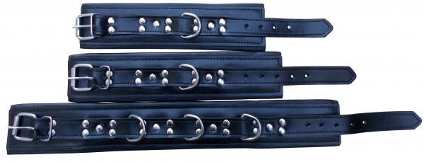 Handfessel - Fußfessel - Halsfessel ❘ Schwarze Bondage Fesseln