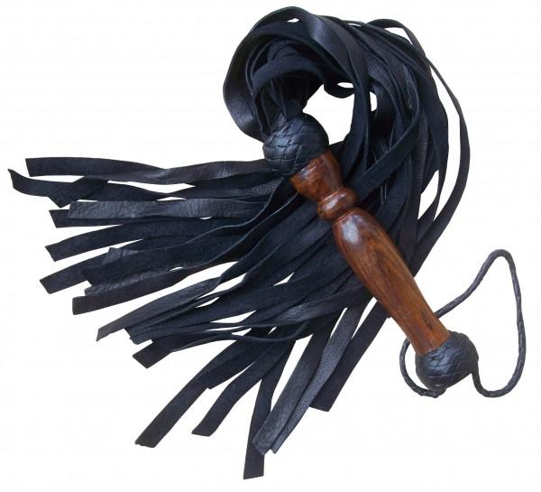 Schwarze Lederpeitsche mit Holzgriff ❘ SM Peitschen