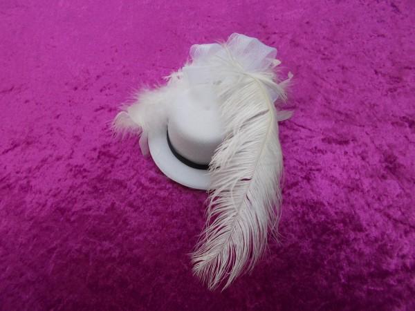 Kleines weißes Hütchen mit Feder - Schmückendes Accessoire für die Dame