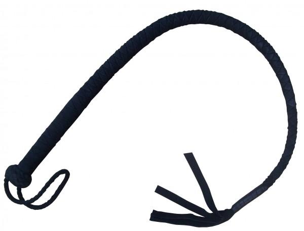 Schwarze Lederbullwhip ❘ SM Peitsche aus Wildleder