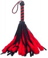 Weiche flauschige rot/schwarze Puschelpeitsche