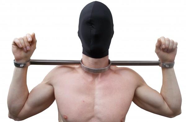 Schwerer Hals- und Handpranger aus mattem Edekstahl - Bondage Zubehör