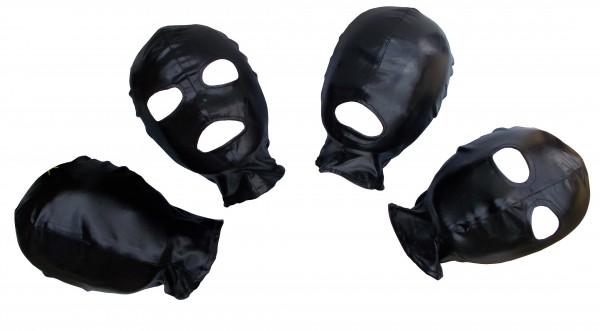 BDSM und Fetisch Haube aus schwarzem Wetlook ♥ in vier Variationen