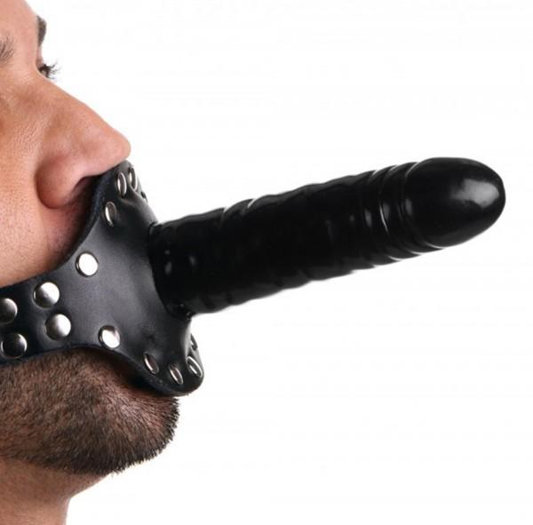 Doppelknebel mit Nieten besetzt ❘ Bondage Penisknebel