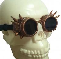 Retro Schweißerbrille ❘ Club Gothic Brille auf altbronze getrimmt mit Spikes